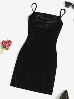 Vestido De Tirante Fino De Terciopelo Al Cuerpo - Negro S