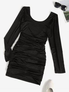Low Back Ruched Long Sleeve Slinky Dress - Black S