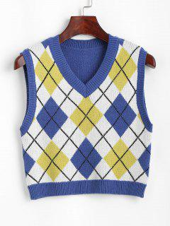 V Neck Argyle Front Sweater Vest - Blue