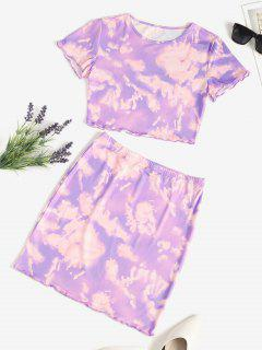 Tie Dye Lettuce-trim Slinky Two Piece Dress - Purple S