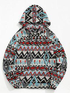 Tribal Geometric Pattern Knitted Fleece Hoodie - Gray L