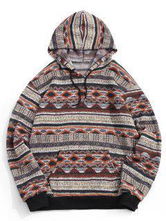 Tribal Geometric Pattern Knit Fleece Hoodie - Deep Yellow L
