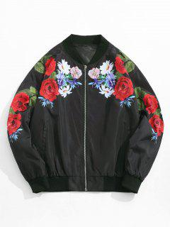 Flower Pattern Zip Up Jacket - Black Xl