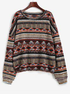 Tribal Ethnic Knit Fleece Lined Sweater - Multi Xl