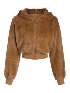 ZAFUL Flauschiger Künstliche Pelz Mantel Mit Kapuze - Tiger Orange L