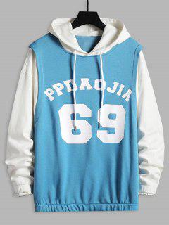 Letters Print Contrast Faux Twinset Hoodie - White M