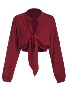 ZAFUL Front Tie Drop Shoulder Cropped Cardigan - Red Wine M