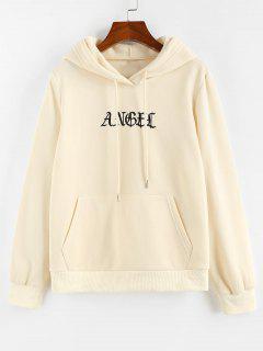 ZAFUL Letter Embroidered Kangaroo Pocket Hoodie - Light Yellow M