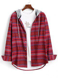 Camisa Con Capucha De Color Tribal - Rojo Xl