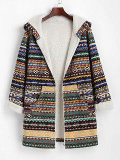 ZAFUL Tribal Print Zip Up Fleece Lined Coat - Deep Coffee M