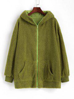 Oversize Zip Up Animal Teddy Coat - Green S