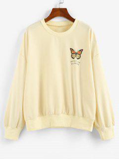 ZAFUL Oversized Butterfly Print Drop Shoulder Sweatshirt - Light Yellow S