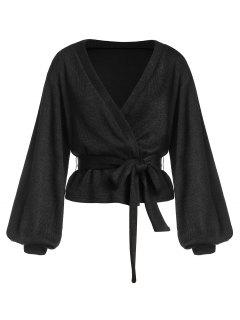 ZAFUL Belted Lantern Sleeve Cardigan - Black M