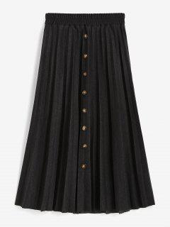 Mock Button High Waisted Pleated Skirt - Black