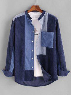 Colorblock Pocket Patch Corduroy Shirt - Blue 2xl