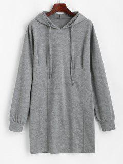 ZAFUL Long Sleeve Drawstring Slinky Hoodie Dress - Dark Gray L