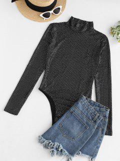 Mock Neck Sequined Snap Crotch Bodysuit - Black M