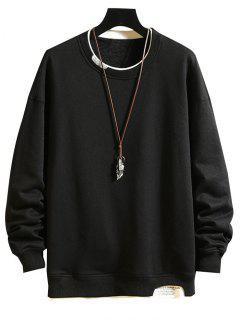 Letter Text Print Contrast Faux Twinset Sweatshirt - Black 2xl