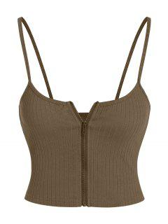 ZAFUL Ribbed Zip Front Crop Camisole - Deep Brown S