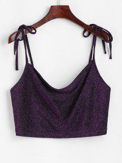 Sparkly Metallic Thread Tie Shoulder Crop Camisole - Concord L