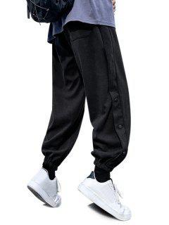 Letter Printed Elastic Waist Pants - Black S