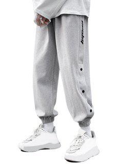 Pantalon Lettre Imprimée à Taille Elastique - Gris Xs