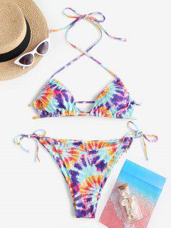 ZAFUL Ribbed Tie Dye Halter String Bikini Swimwear - Purple M