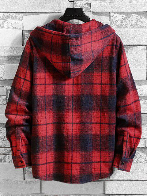 trendy Hooded Plaid Print Pocket Shirt - RED 2XL Mobile