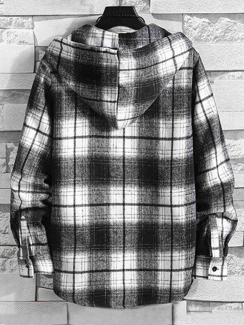 trendy Hooded Plaid Print Pocket Shirt - BLACK M Mobile