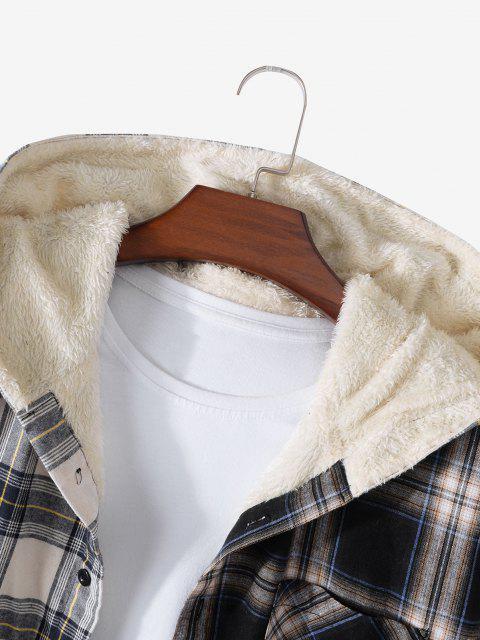 Veste à Capuche Motif à Carreaux avec Poche en Laine - Jaune XL Mobile