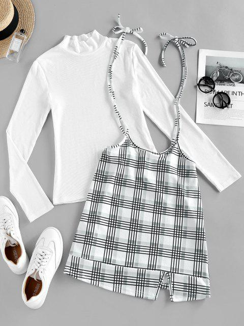 hot ZAFUL Plaid Tie Shoulder Slit Dress with Ribbed Top - WHITE M Mobile
