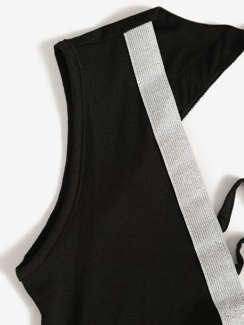 new Metallic Thread Glitter Cutout Backless Bodycon Dress - BLACK M Mobile