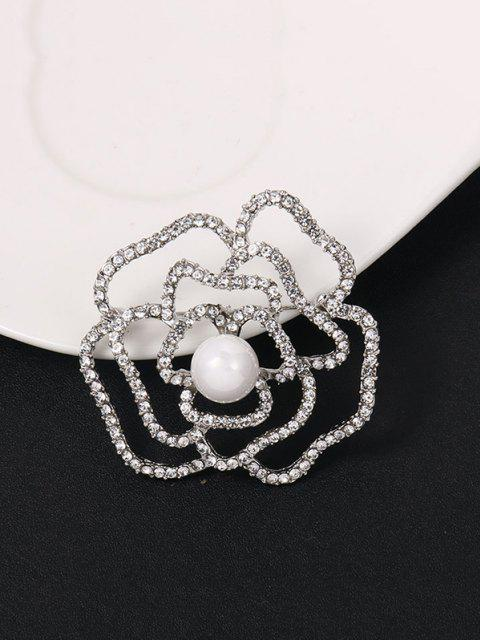 new Faux Pearl Rhinestone Hollow Flower Brooch - SILVER  Mobile