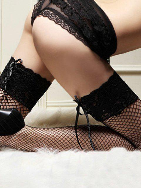 ladies Lace Up Fishnet Thigh High Stockings - MULTI-B  Mobile