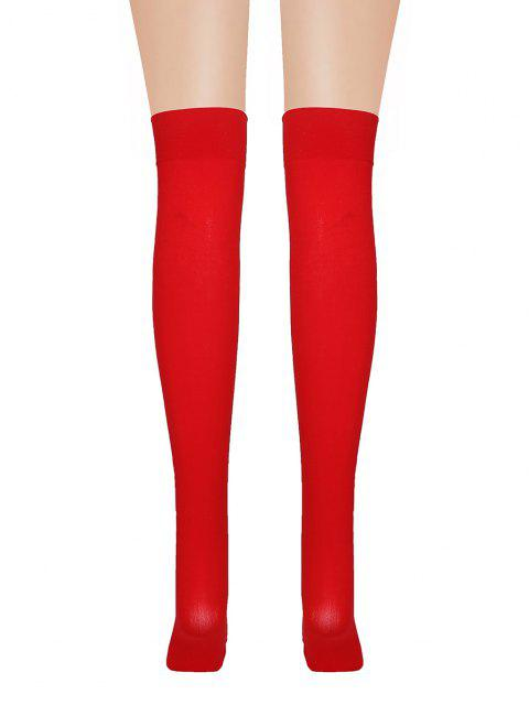 Christmas Bowknot Fluffy Over The Knee Socks - أحمر  Mobile