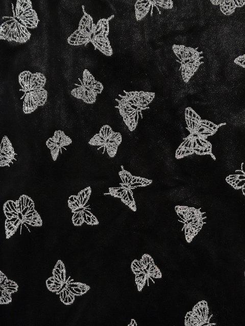 Robe à Bretelle Fine Papillon Nouée à Paillettes en Velours - Noir M Mobile