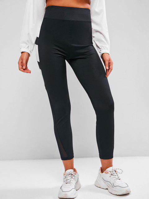 shop Contrast Two Tone High Waisted Leggings - BLACK L Mobile