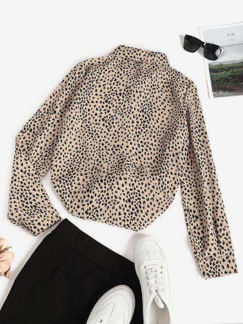 best Leopard Animal Print Round Hem Tunic Shirt - LIGHT COFFEE XL Mobile
