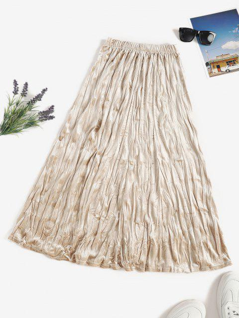 outfits Pull On Velvet Long Pleated Skirt - LIGHT COFFEE ONE SIZE Mobile