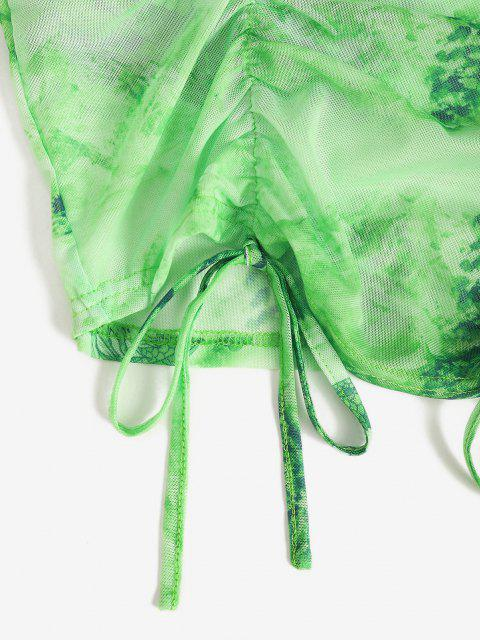 hot Mesh Dragon Print Sheer Ruched Cami Dress - GREEN L Mobile