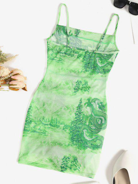 unique Mesh Dragon Print Sheer Ruched Cami Dress - GREEN M Mobile