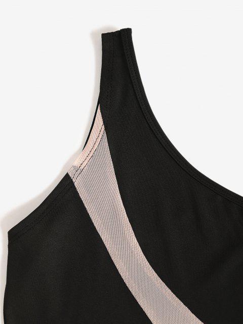 Bodysuit de Malla con Panel de Un Hombro - Negro M Mobile