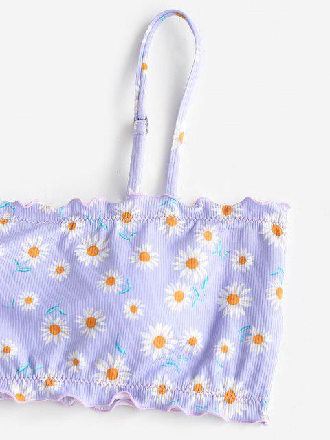 ZAFUL Maillot de Bain Bikini Côtelé Fleur à Ourlet en Laitue - Violet clair S Mobile