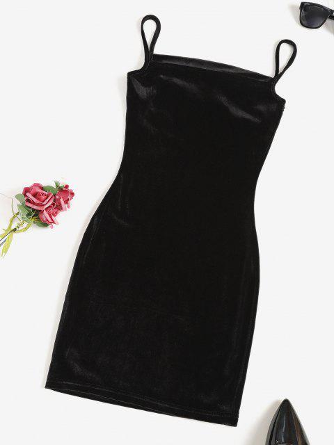 trendy Cowl Front Velvet Bodycon Cami Dress - BLACK L Mobile