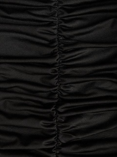 fashion Low Back Ruched Long Sleeve Slinky Dress - BLACK M Mobile