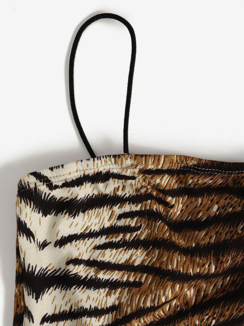 Vestito Aderente Stampato Tigre con Spalline Sottili - Multi Colori S Mobile