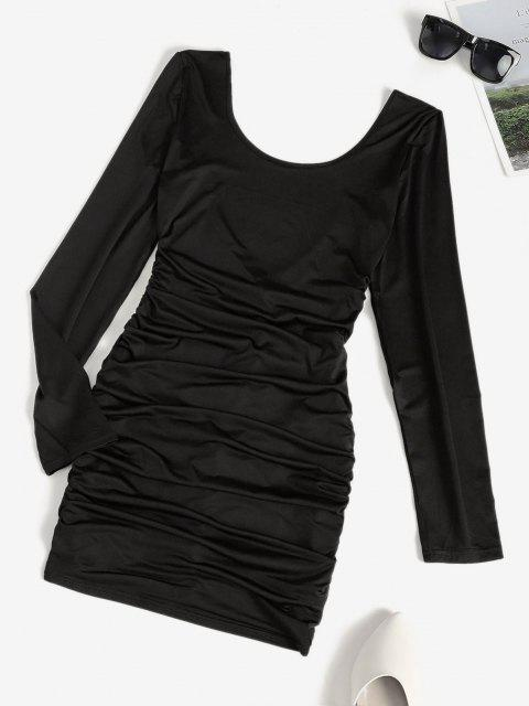 ladies Low Back Ruched Long Sleeve Slinky Dress - BLACK XL Mobile