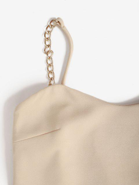hot Chains Straps Slinky Dress - LIGHT COFFEE L Mobile