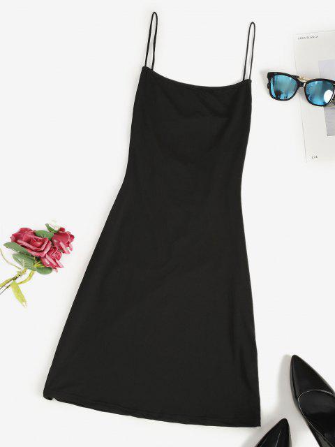 unique Lace Up Backless Mini Dress - BLACK S Mobile