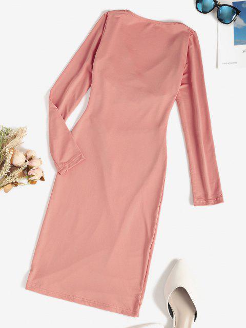 online Surplice Cross Cutout Fleece Lined Bodycon Dress - LIGHT PINK M Mobile